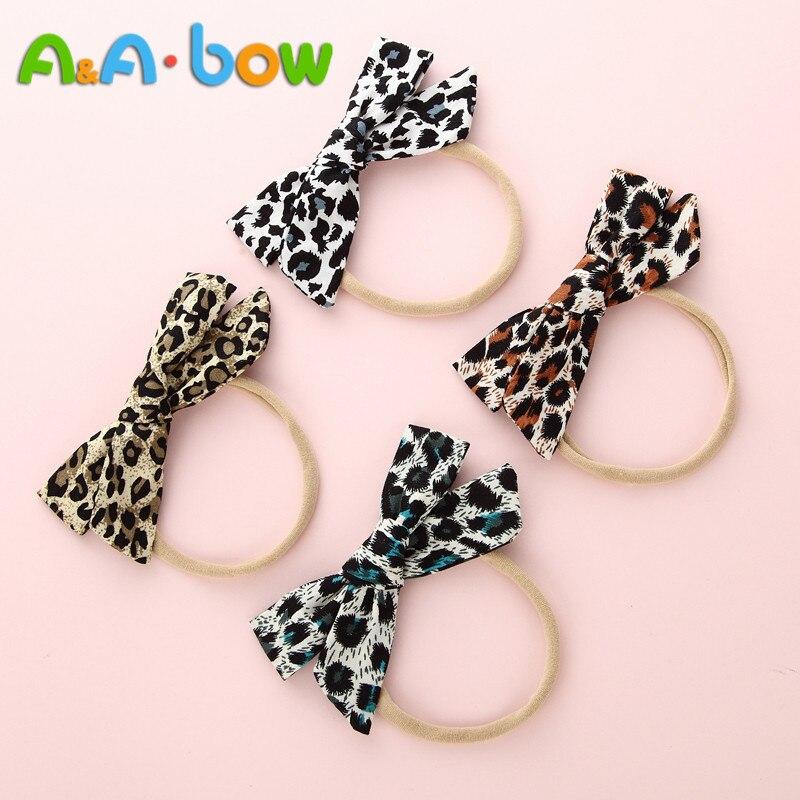 4 unids/lote, diadema de nailon con lazo de leopardo para niñas, diadema elástica suave con lazo, accesorios para el cabello para niñas pequeñas