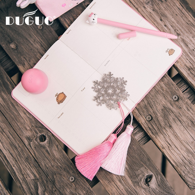 DUGUO lindo papelería exquisito metal copo de nieve borla marcadores manual de importación borla suministros de oficina kawaii exquisito regalo