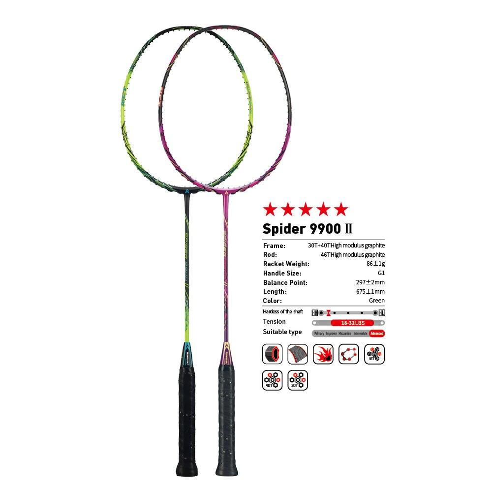 Raquetas originales Kawasaki de bádminton Spider 9900 II, raqueta de fibra de grafito 3U de tipo ofensivo para jugador profesional, raqueta de regalo