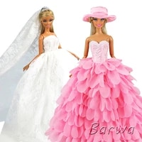 hot sale fashion doll accessories kids toys wedding evening princess party dolls clothes dress for barbie dressing game diy gift