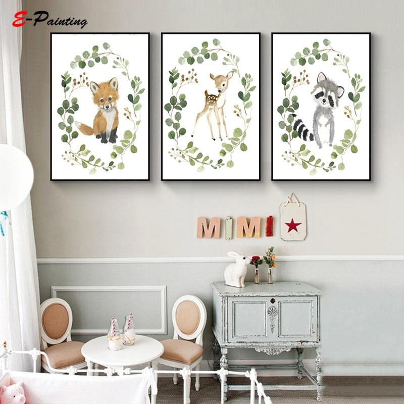 Nordic Canvas Painting Baby Fox Cub Woodland Nursery Art Fox Illustration Kid Bedroom Animal Watercolor Poster Room Decor