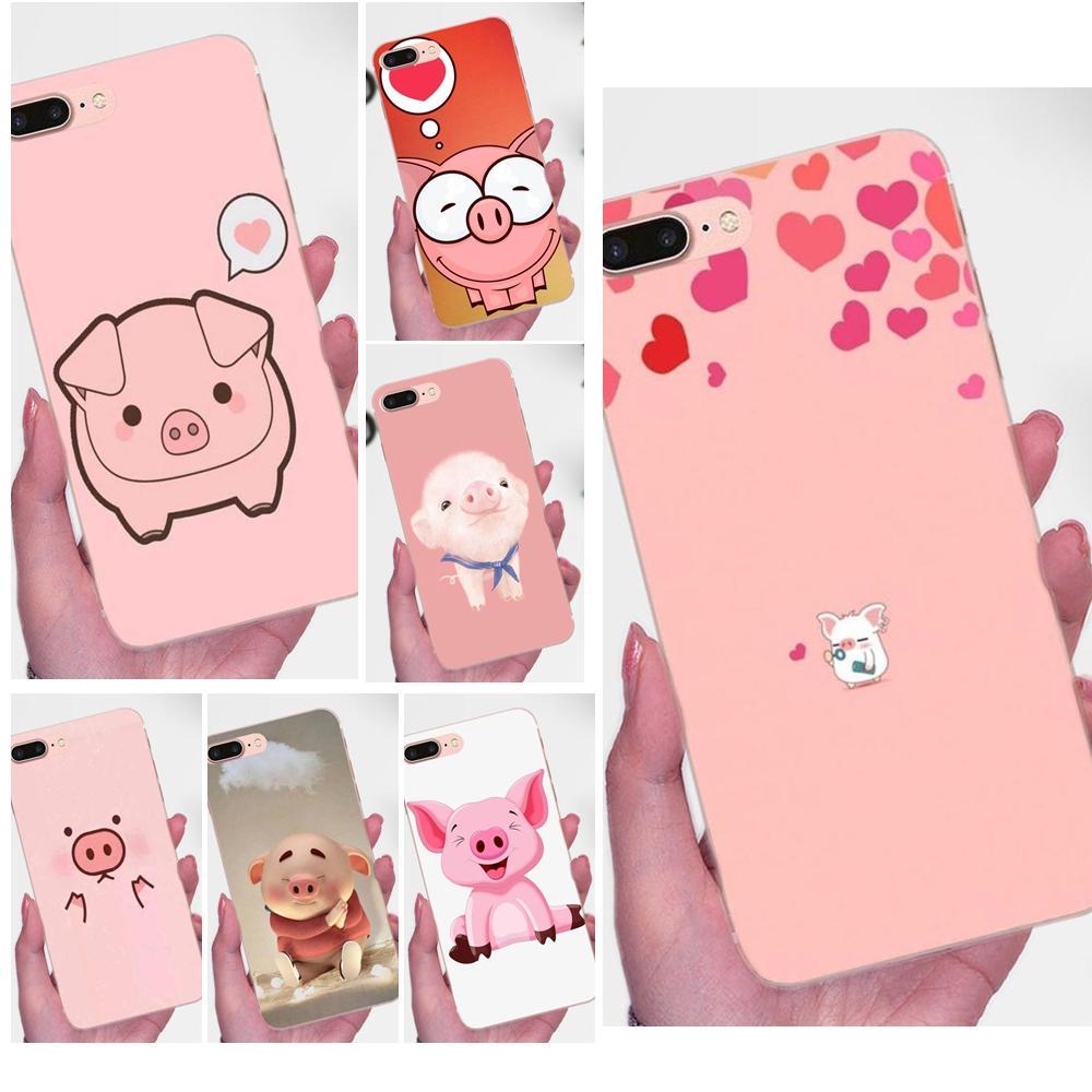 Gracioso cerdo rosa de dibujo animado para Xiaomi mi 3 mi 4 mi 4C mi 4i mi 5 mi 5S 5X 6 6X 8 SE A1 Max mi x 2 Note 3 4 TPU caso de la cubierta a la moda de la