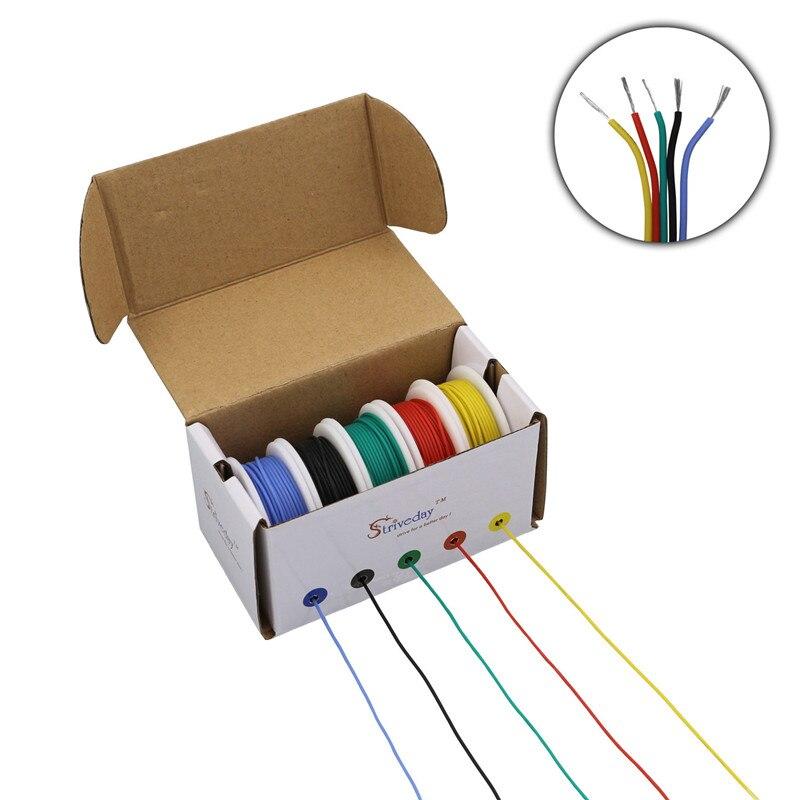 Cable de silicona flexible de 25 metros 18AWG, caja mezcladora de 5 colores, 1 caja, 2 cables trenzados electrónicos, cable de cobre estañado DIY