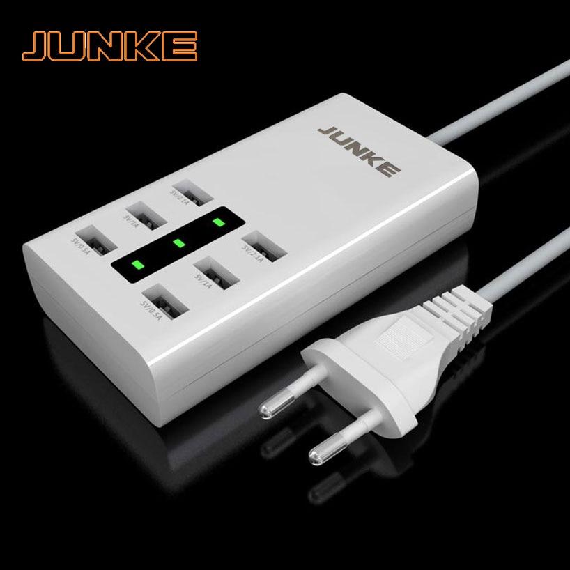 JUNKE 7.2A 6 puertos, Cargador USB, potencia 36W, estación de carga para iPhone, iPad, Samsung, Huawei, Xiaomi, Meizu, ZTE, Lenovo, DV, adaptador de CA