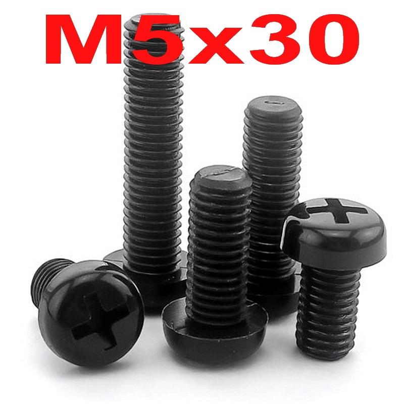 (100 unids/lote) métrica M5 x 30mm de Nylon negro Phillips Pan-Header tornillo