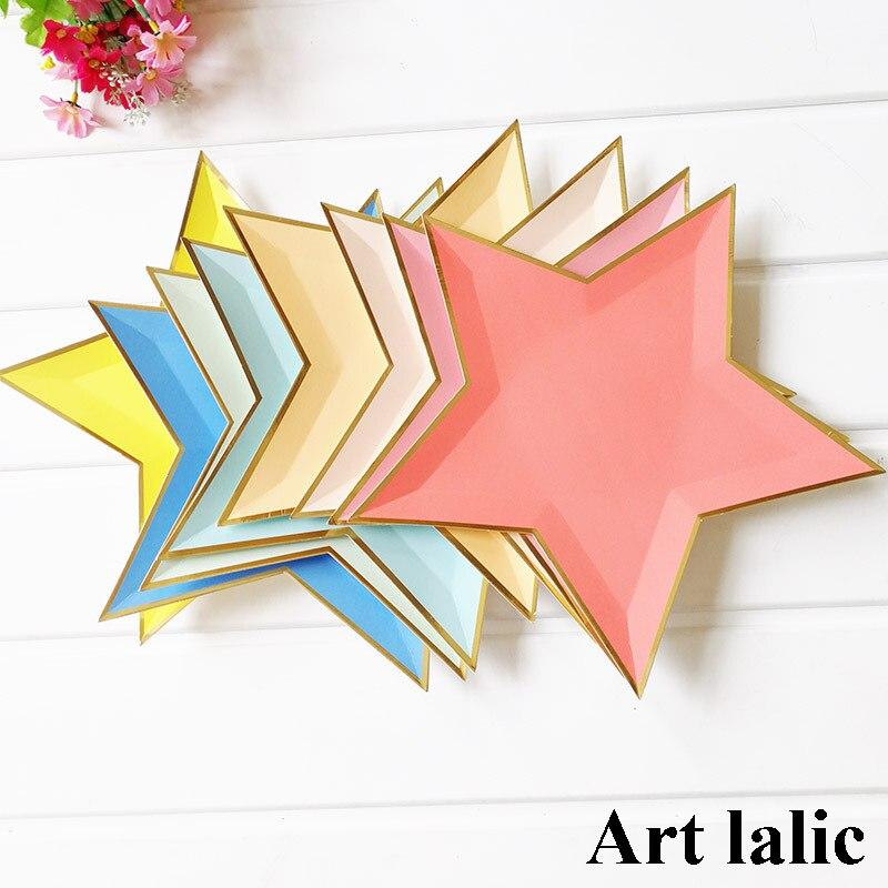 8 Uds. Platos de papel aluminio estrella de papel dorado de colores, decoración para fiesta, plato de papel para mesa desechable para cena, pasteles, suministros para fiesta