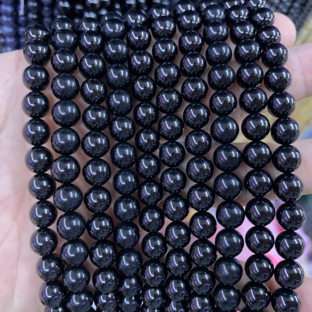 """6mm 8mm 10mm negro Spinel piedra cuentas piedras preciosas naturales DIY cuentas sueltas para joyería ¡15 """"al por mayor!"""