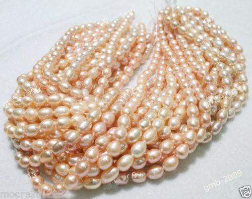 5 шт Vritable Naturel 6-7 мм rose Riz perle deau douce En Vrac perles 14