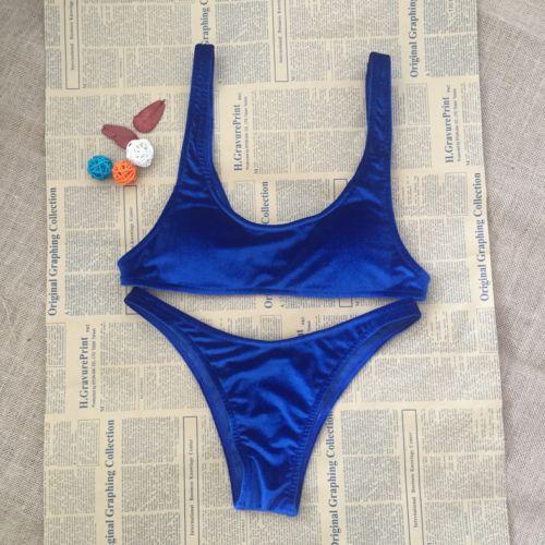 Sexy Triângulo das Mulheres Velvet Bikini set Push Acolchoado Bandage Swimsuit Beachwear Swimwear