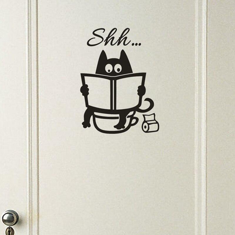 Gato bonito Shh Padrão Wc Adesivos de Parede Exclusivos Acessórios Removível Do Decalque Do Vinil Mural Criativo Decorações Da Sala De Lavagem