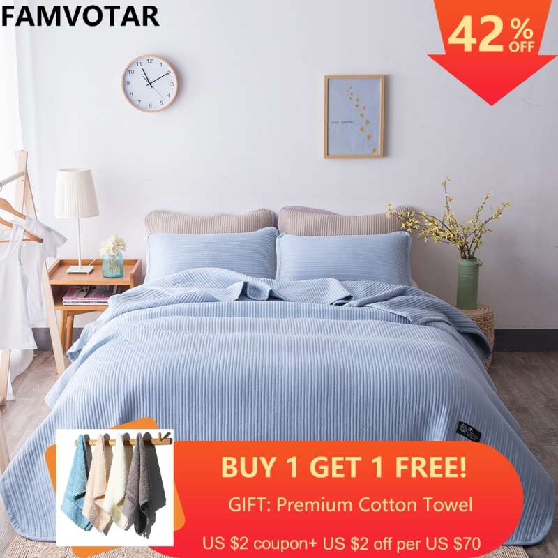 Hamvotar estilo japonés de 5 colores sólidos acolchado colcha 3 piezas patrón Vertical de verano colchas sofá Manta