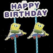 1set/lot SpongeBob cake topper SpongeBob birthday party decorations SpongeBob cake flags party supplies