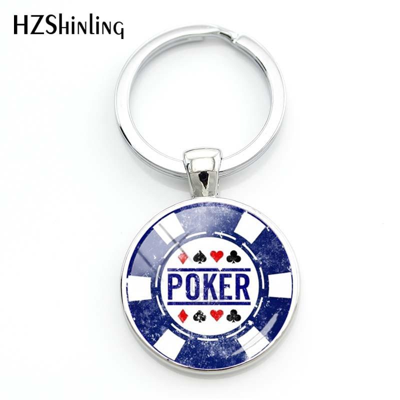 2018 Fashion Classic Poker Keychain Men Hot Male Glass Cabochon Key Chains Handmade Key Rings Best Gift Car Key Pendant