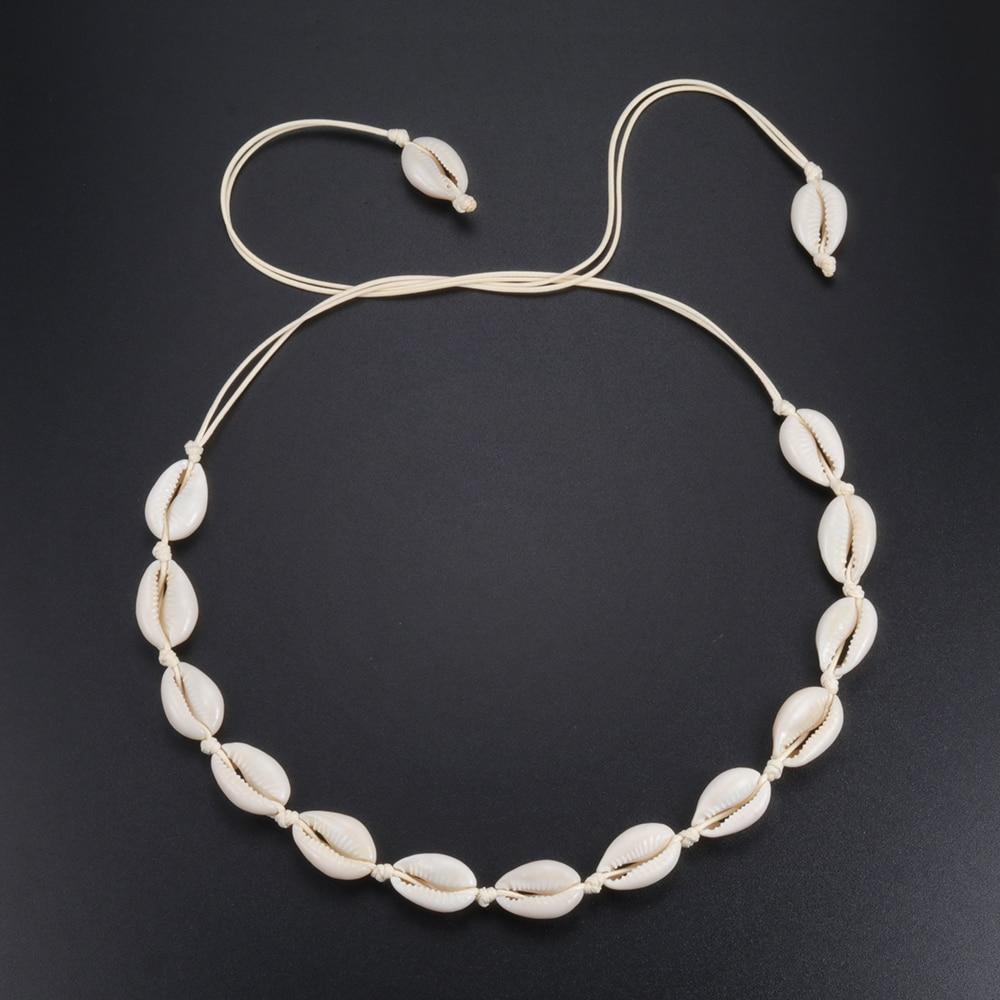 Hot Conch Seashell Necklace Women Jewelry Summer Beach Shell Choker Bohemian Rope Cowrie Beaded Neck