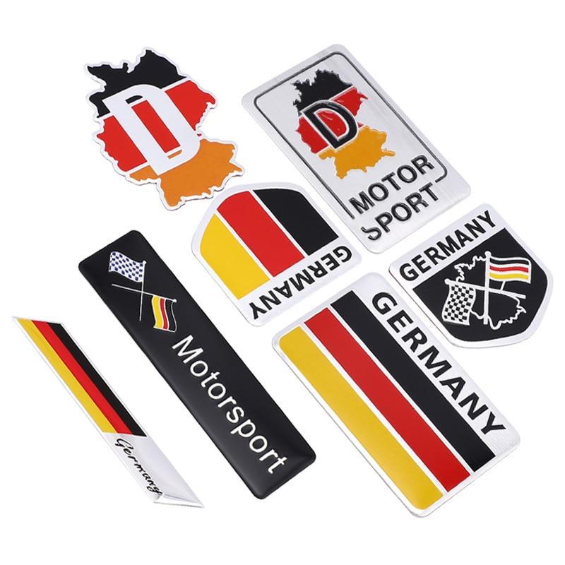 Pegatinas y calcomanías de aluminio con bandera alemana en 3D, emblema para BMW, Audi, Honda, Toyota, Mazda, Yamaha, Suzuki, autoadhesivo