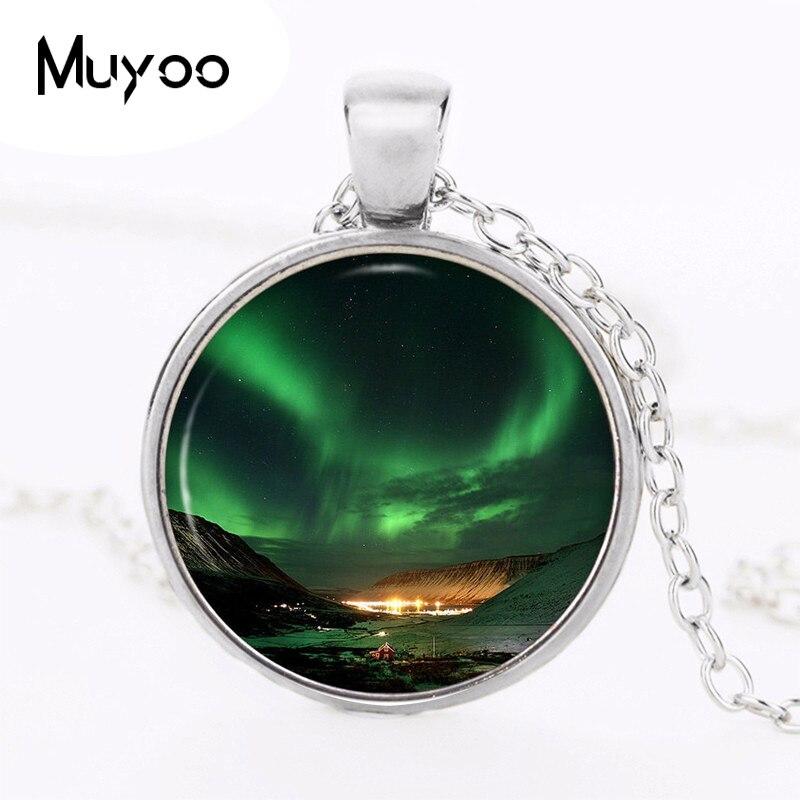 Ожерелье с подвеской Северное сияние Космическая туманность Аврора Borealis зеленое фото очаровательное винтажное ожерелье ручной работы жен...
