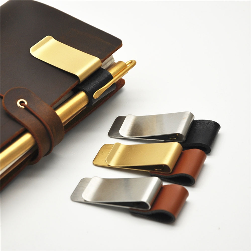 1Pc Metal Leather Pen Holder Brass Stainless Steel Pencil Clip Vintage Dairy Notebook Pen Holder Spiral Loose Leaf Memo Clip