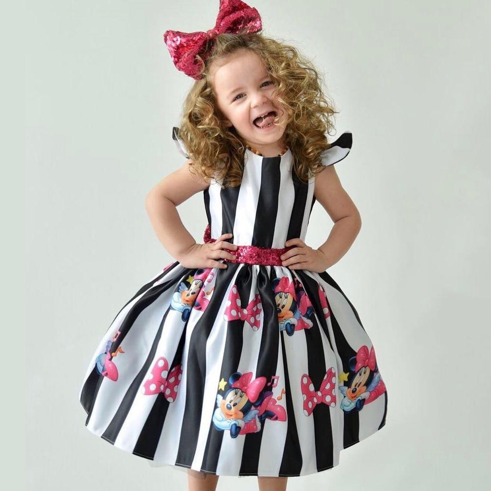 Vestido de verano de Minnie para niñas, vestidos de satén de princesa para niñas, ropa de rayas para niñas, vestidos de fiesta de cumpleaños