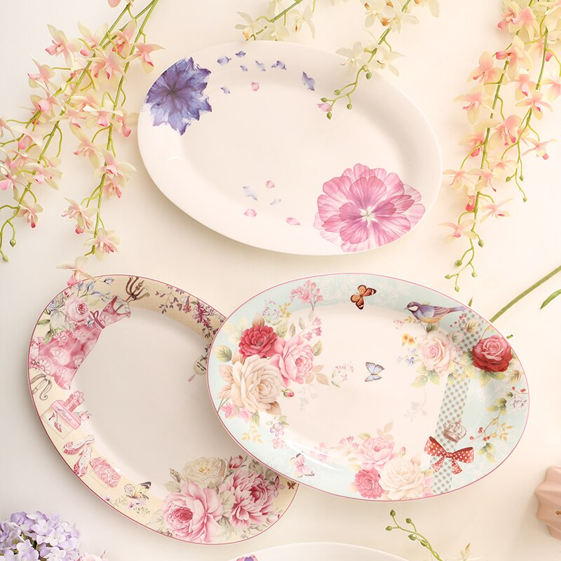 Plato Pastoral de porcelana plato de pescado plato de cerámica para carne plato de pastel plato de comida vajilla británica vajilla de porcelana