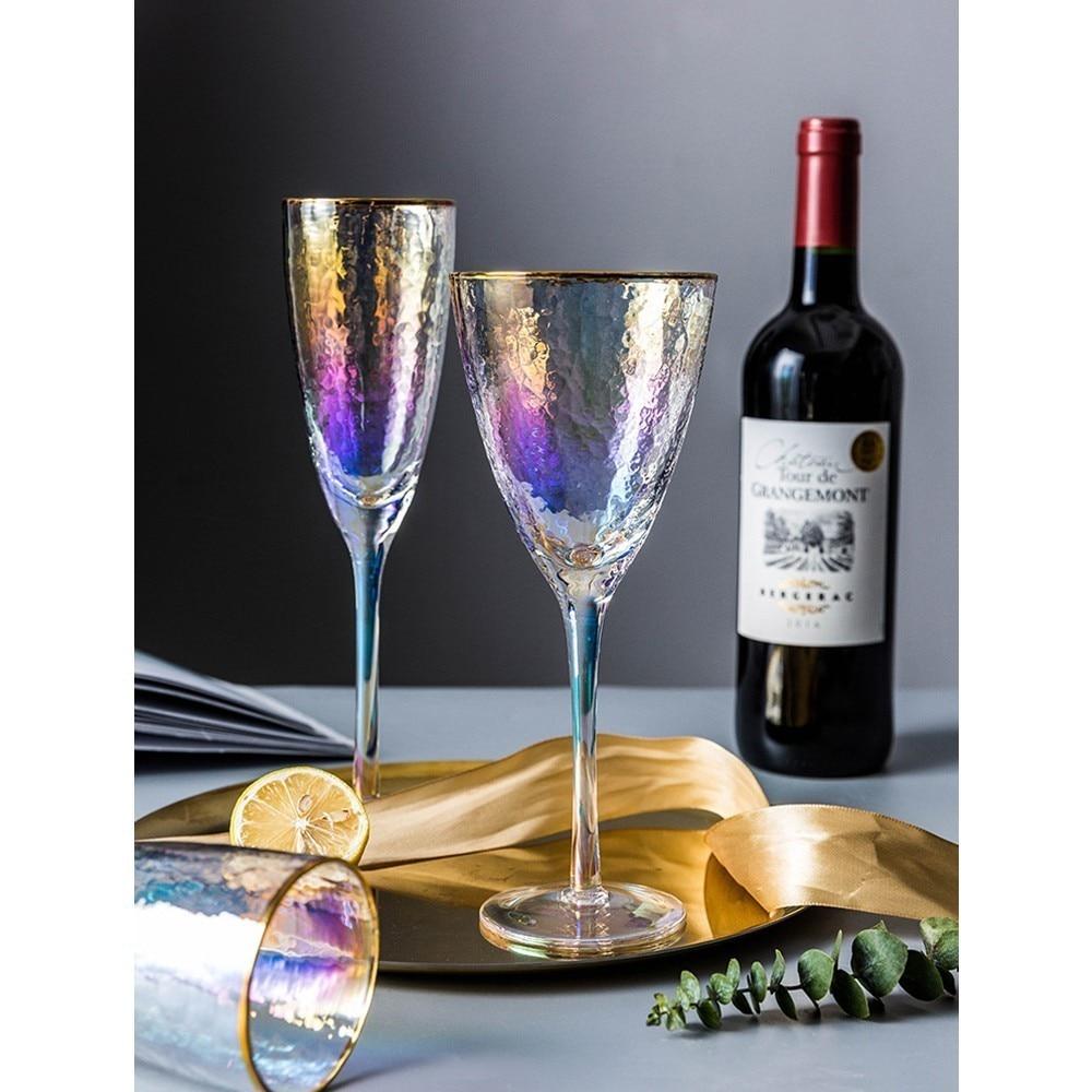 Coloré Ion or bord cristal gobelet Martini verre à vin romantique bougie dîner mariage Champagne flûtes verres bière tasse
