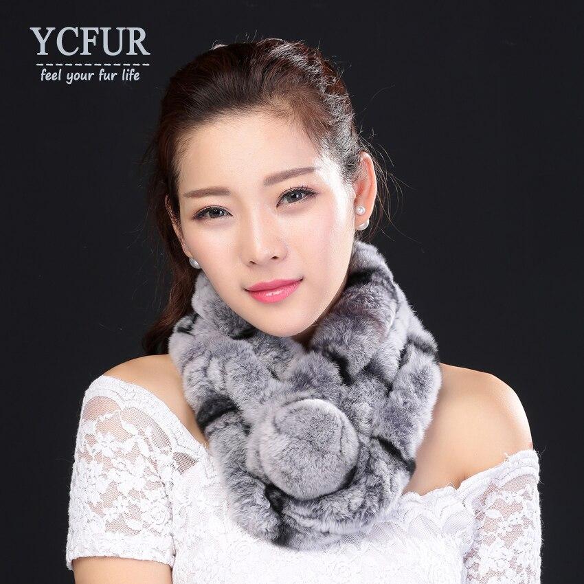 YCFUR Warm Winter Scarfs Wraps Women Handmade Natural Rex Rabbit Fur Scarves Wraps Female With Fur P
