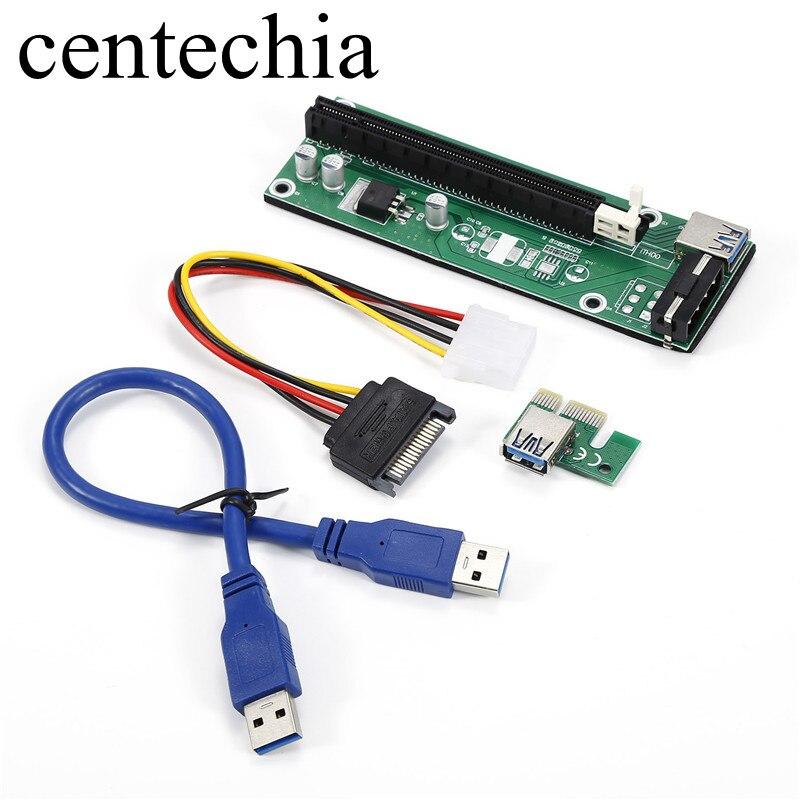 Centechia 50 cm 3 colores PCIe PCI Express tarjeta vertical 1x a 16x USB 3,0 Cable de datos SATA a 4pin /6 pines de alimentación de IDE para BTC, LTC