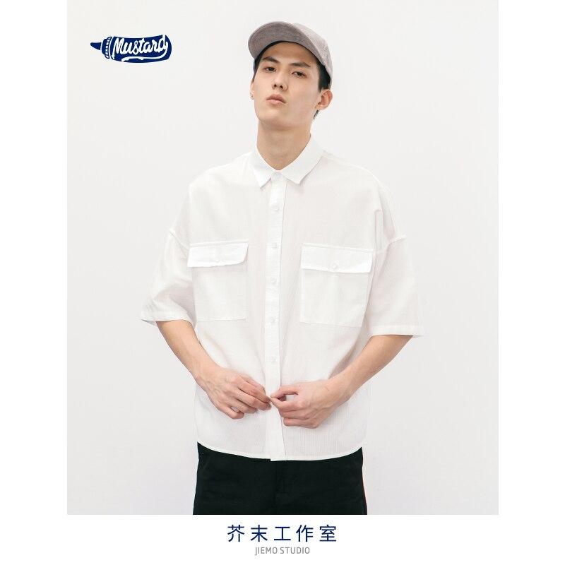 Casual Camisa de manga corta de Bolsillo grande de agua de SODA con cuello vuelto de gran tamaño de moda de calle alta sólida para los hombres 8357
