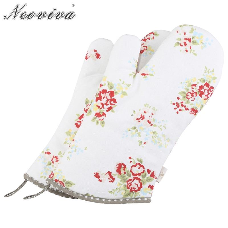 Neoviva прочная холщовая печь Mitt для женщин набор из 2 цветочных нитоновых роз Микроволновая печь гриль духовка кухонные перчатки Mit Guantes
