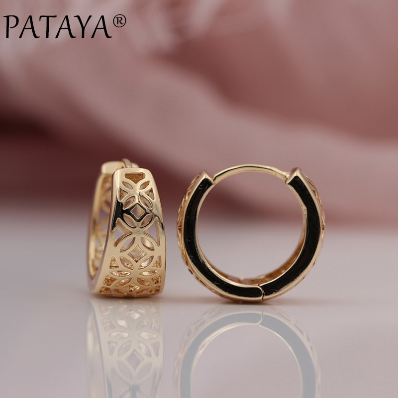 Женские серьги PATAYA, большие серьги с резным узором из розового золота 585 пробы, для свадебной вечеринки