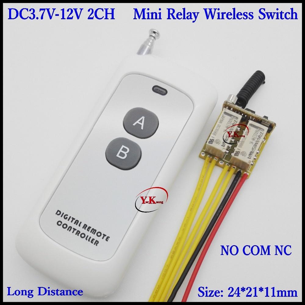 DC 4,5 V 5V 6V 7,4 V 9V 12V 2 canales Gang minirelé interruptor remoto LED línea de señal interruptor de contacto remoto salida conmutación valor