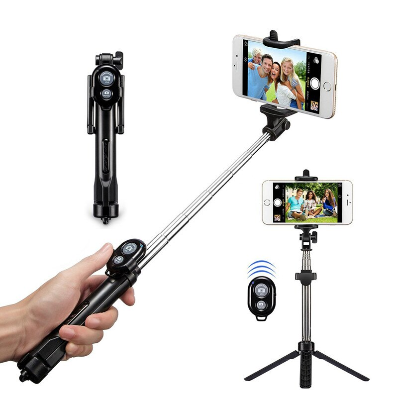 Bluetooth trípode Selfie Stick Monopod con el botón de la cámara remota Selfie palo para el iphone 6 8 Plus Huawei Android Stick Z2
