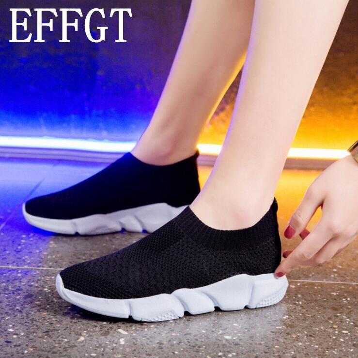 Zapatillas de mujer EFFGT zapatos vulcanizados de punto para mujer Zapatillas de malla de zapatos planos de mujer calzado suave para caminar A373