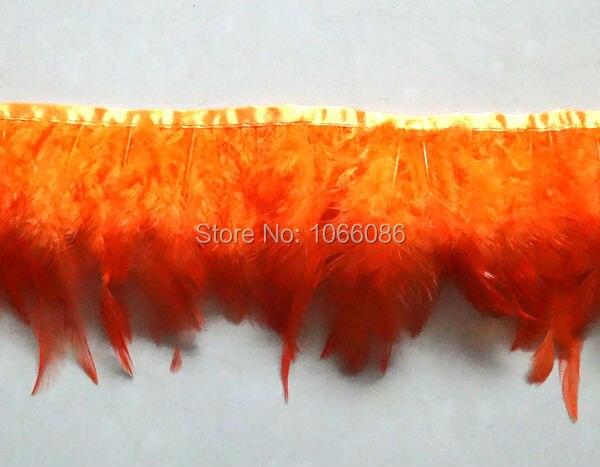 Envío gratis 10 metros/lote cinta de plumas de gallo anaranjado recortado de plumas de pollo de 8-13 cm de ancho