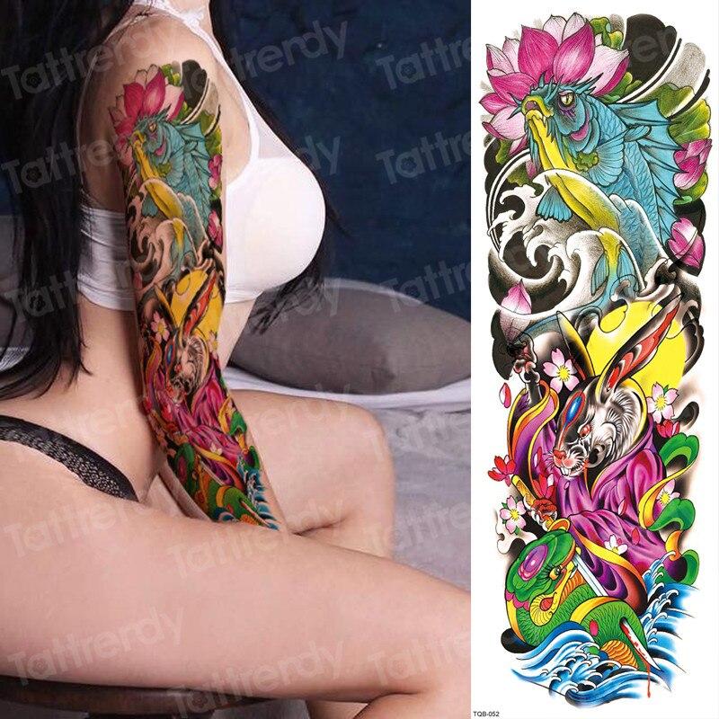 Tatuaje a prueba de agua temporal de transferencia de agua tatuaje de color agua peces tatuajes grandes temporales tatoo mujeres moda arte corporal verano