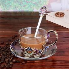 Tasses de café en émail   Service de tasses, soucoupes de plats, tasse de tasse de thé de style européen service de thé 201-300ml