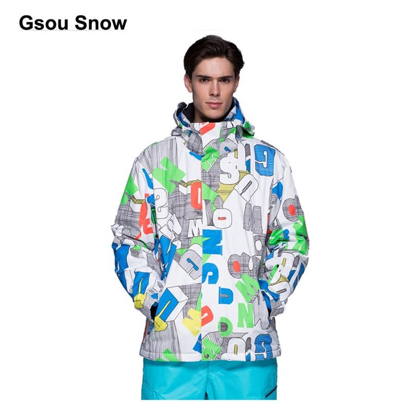 Gsou Snow Men traje de esquí impermeable Snowboard chaqueta a prueba de viento cálido colorido invierno deporte abrigo invierno escalada traje