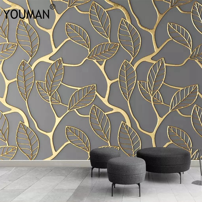 Настенные абстрактные 3D-обои по фото на заказ, домашний фон, Золотая акварель, лес, настенная живопись для гостиной, дивана