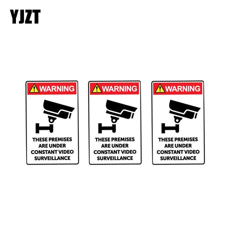 Adesivo de carro yjzt 3x 5.6cm * 9cm, estas instalações estão sob vigilância por vídeo constante, decalque de aviso em pvc 12-1020