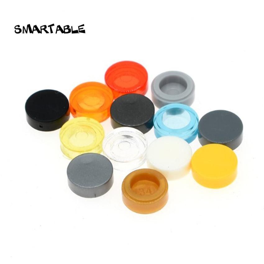 Smartable Tile Round 1x1 Flat Studs Building Blocks MOC Parts Toys For Kids Creative Compatible Major Brands 98138 200pcs/lot