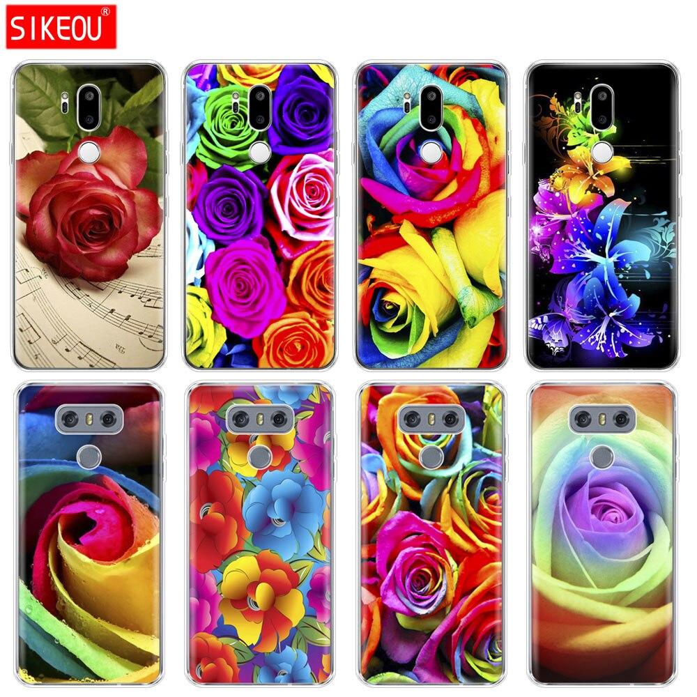 Funda de silicona para teléfono LG G7 Q8 Q6 G6 MINI G5 V30 V7 V9 k10 k8 X POWER 2 flor color rosa arcoíris
