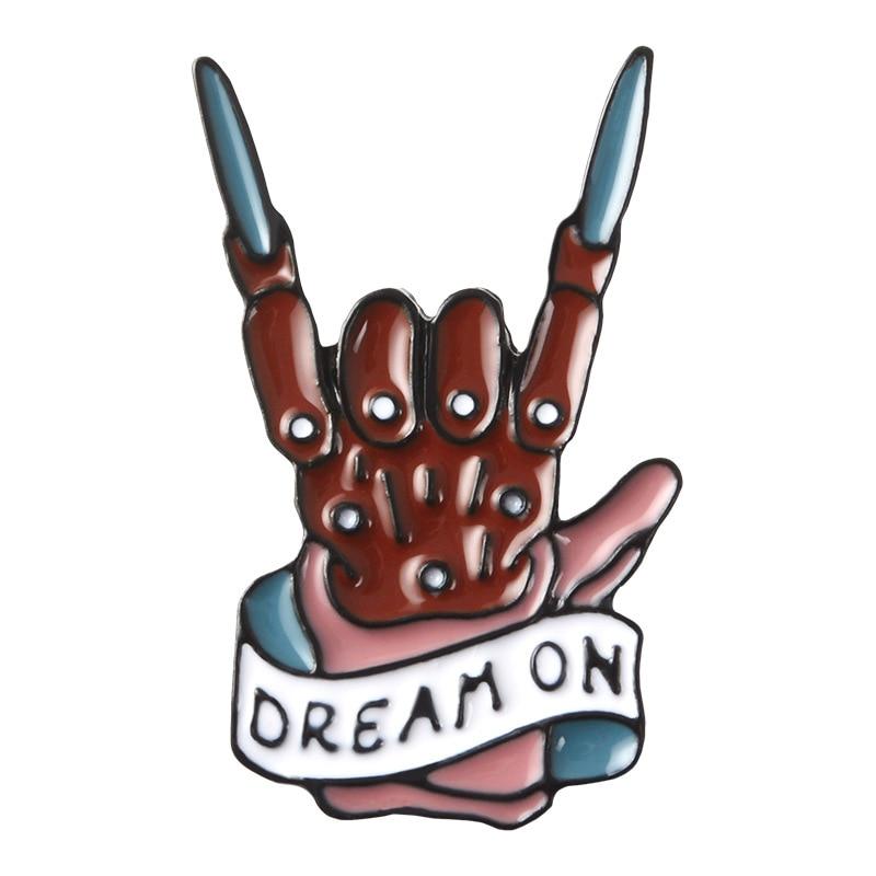 DREAM ON Enamel Pins Zombie Horned Hand Brooch Aerosmith Rock Punk Brooches Badge Denim Shirt Collar Punk Inspirational Jewelry