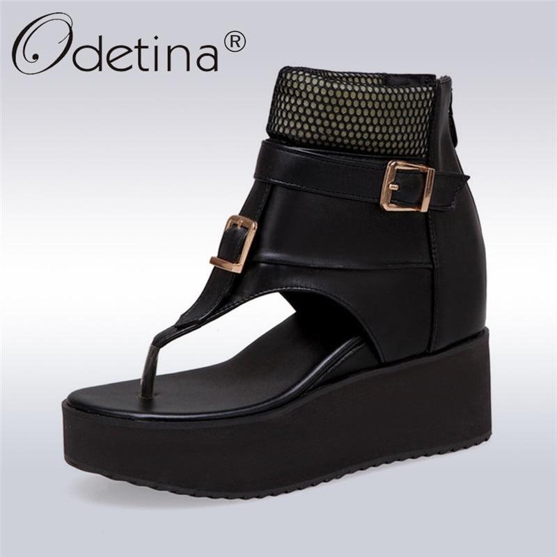 Odetina New Women Platform Wedge Sandals High Heel Buckle Strap Open Toe Summer Casual Flip Flop Tong Sandal Shoes Big Size 43