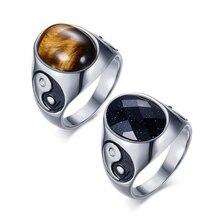 Bague homme acier inoxydable coloré rouge noir blanc marron vert opale pierre anneau Yin Yang Punk bague pour homme