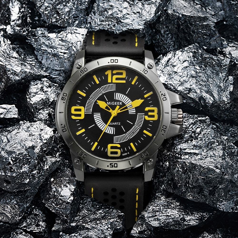 Мужские кварцевые часы MIGEER, модные спортивные аналоговые часы с силиконовым ремешком, 2018
