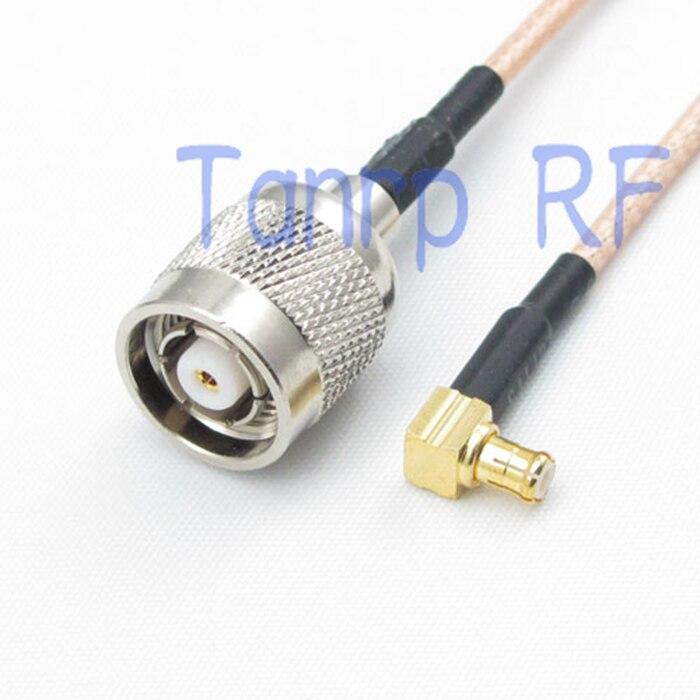 50 CM cable de puente coaxial RG316 cable de extensión 20in RP TNC macho a MCX macho ángulo recto 90 grados RF adaptador de conector