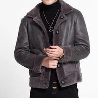 top brand men motor biker sheep real fur jacket suede leather shearling coat fur lining windproof reversible coats plus size 5xl