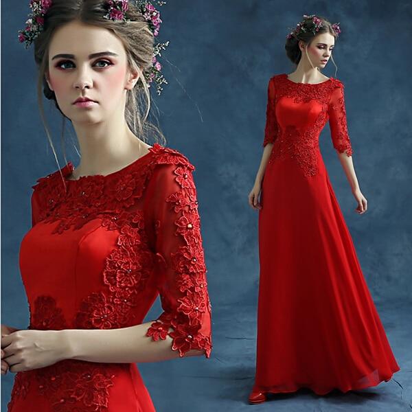 2019 Free shipping Lace O-neck Party Gowns Formal Long Prom dresses robe de soiree vestido de festa