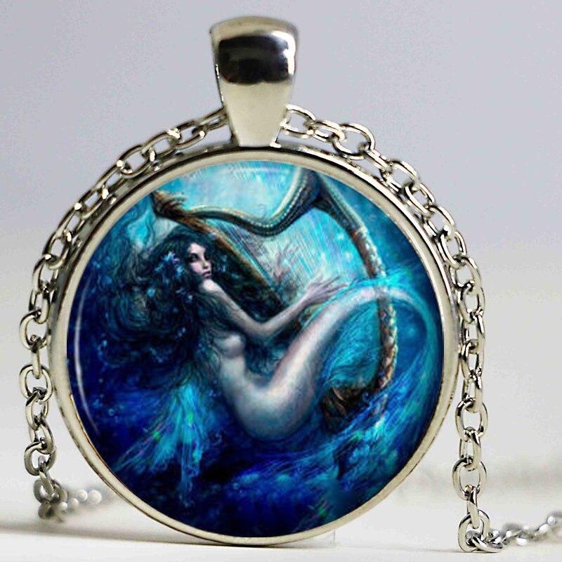 Prata cor sereia pingente colar azul mar sirene harpa corrente arte jóias charme sereia