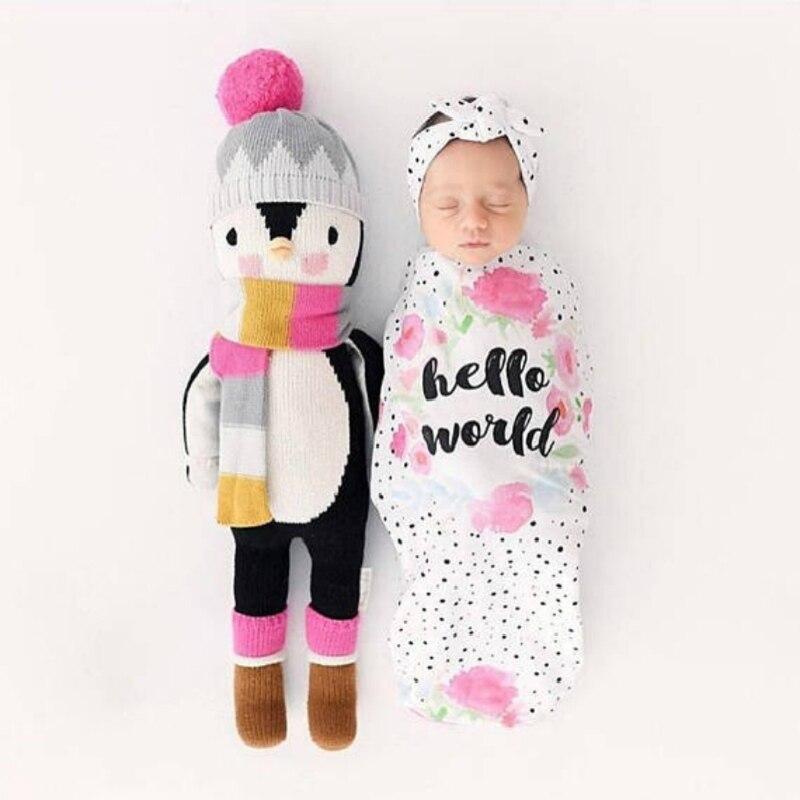 2Pcs/Set Newborn Swaddle Blanket Baby Sleeping Bag Muslin Wrap Headband Photo props