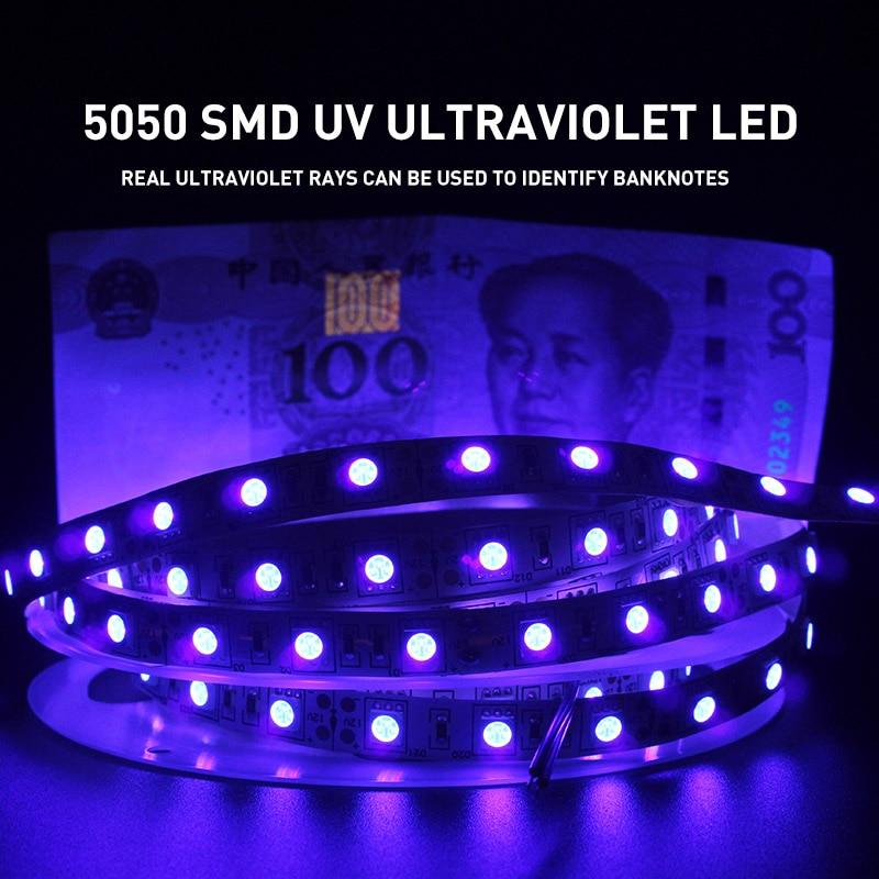 УФ ультрафиолетовая 5050 SMD Светодиодная лента 0,5-5 м водонепроницаемая лента фиолетовая гибкая лента лампа DC12V 395-405nm для диджеев флуоресцентн...